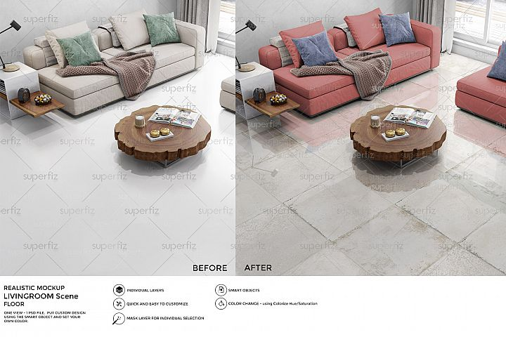 Livingroom PSD Mockup to change the FLOOR SM28