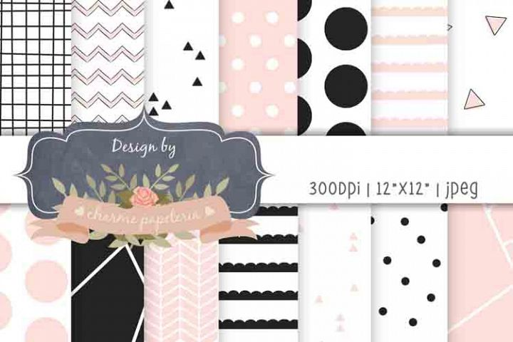Pink and black geometric digital paper, Baby shower paper