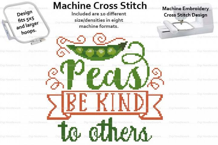 Peas Be Kind To Others 5x5 Hoop Mach Embroidery Cross Stitch