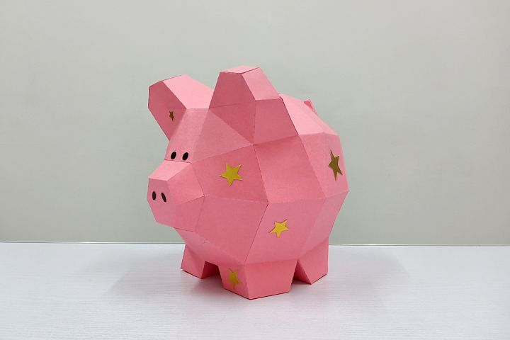 DIY Papercraft Piggy bank,Nursery decor,Pig svg,cricut files