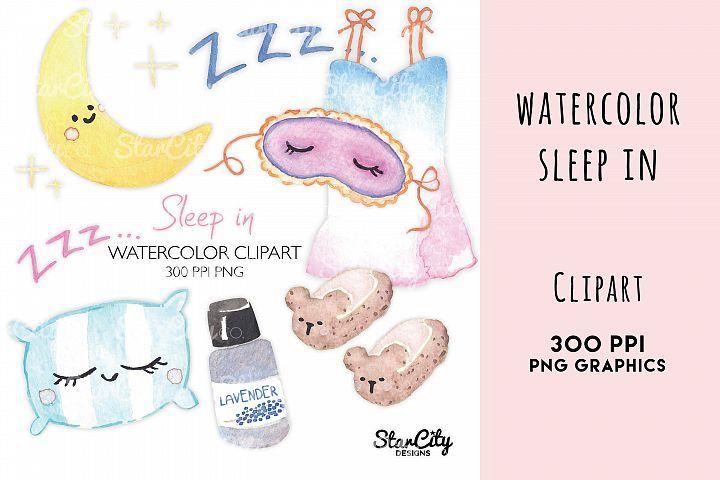 Watercolor Sleep Clipart, night gown, teddy bear slippers