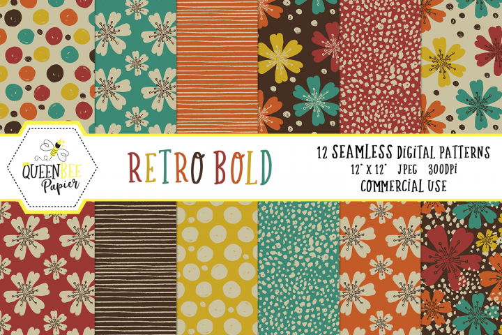 Retro Floral Digital Papers