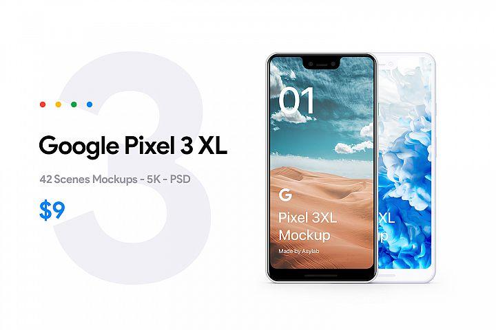 Google Pixel 3 XL - 42 Mockups Scenes 5K - PSD