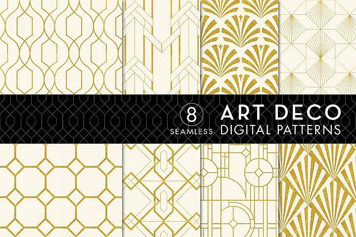 8 Seamless Art Deco Patterns - Ivory & Gold Set 2