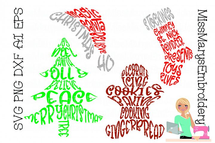 Christmas Words SVG Cutting File PNG DXF AI EPS