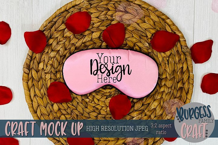 Valentine pink sleep mask Craft mock up