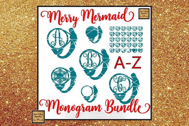 Mermaid Monogram Bundle, Christmas SVG, Monogram Svg files