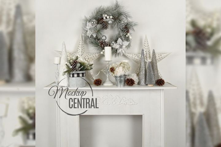 Christmas Background Fireplace Mock Up, JPG Mockup