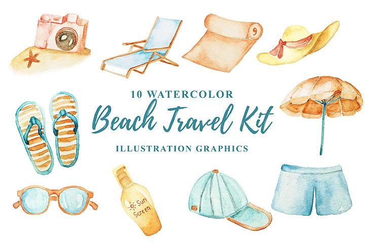 10 Watercolor Beach Travel Kit Illustration Graphics
