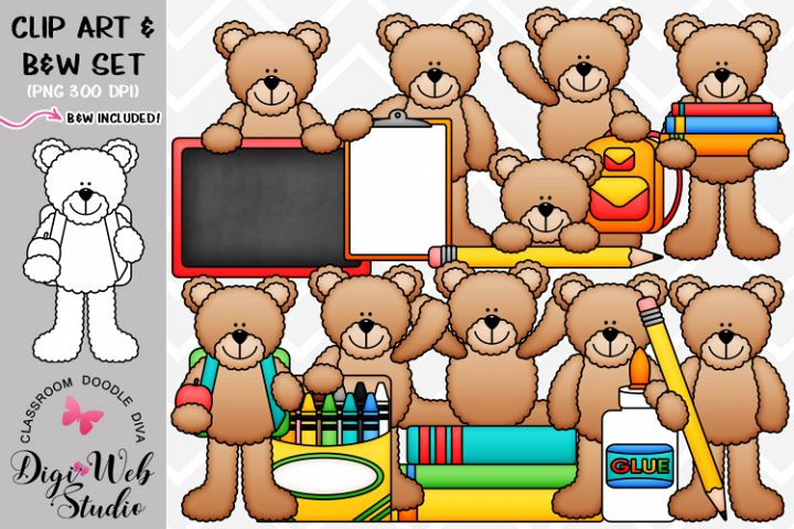 Clip Art / Illustrations - Back to School Teddy Bears