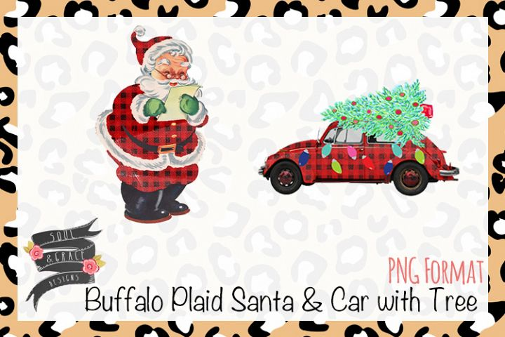 Buffalo Plaid Santa and Car with Tree