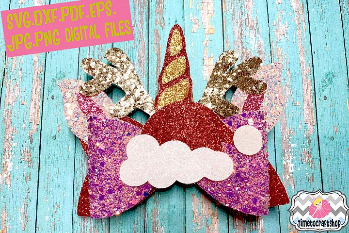 Christmas Santa Unicorn Reindeer Antler Hair Bow Template
