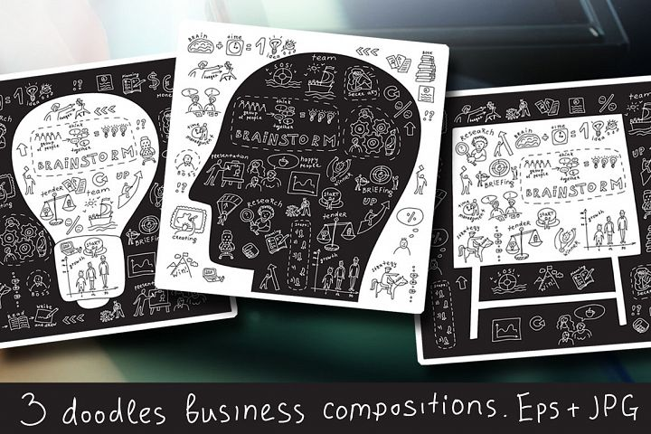 Doodles business vector set