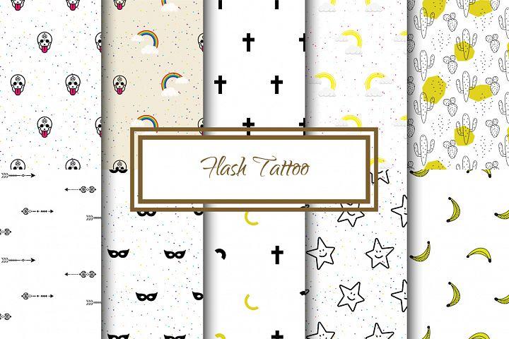 Flash Tattoo Seamless Patterns