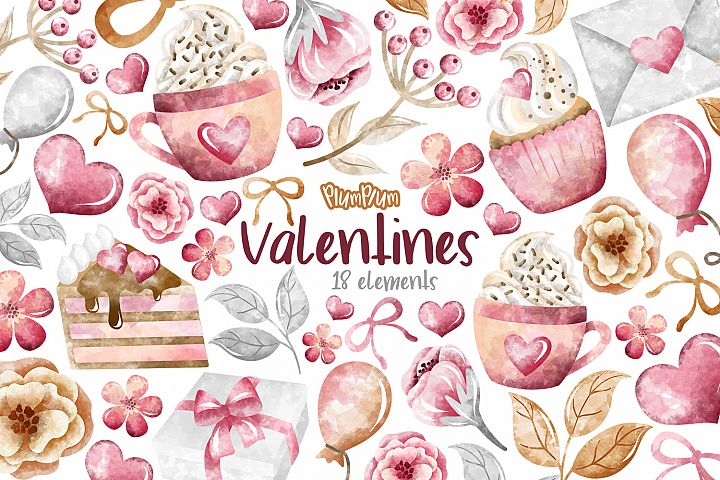Valentines Watercolor Cliparts