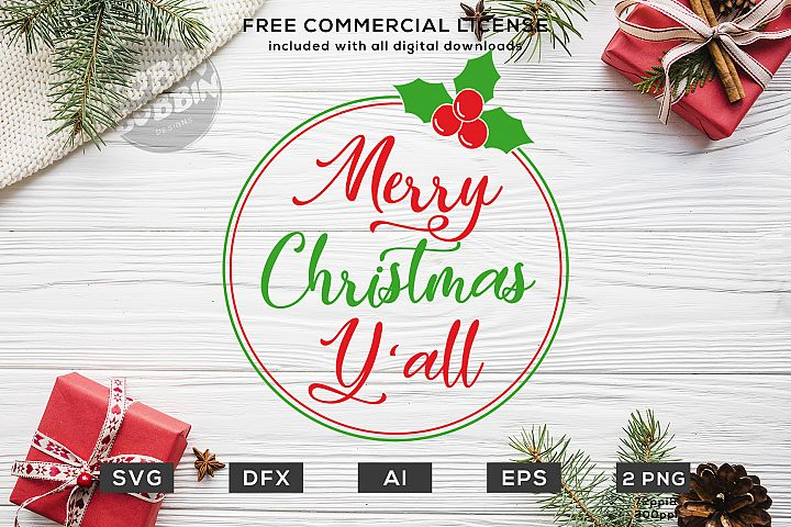 Merry Christmas YAll Design SVG DXF