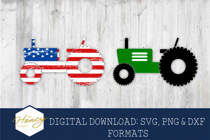 Tractor SVG PNG DXF American Flag Distressed Kids Design
