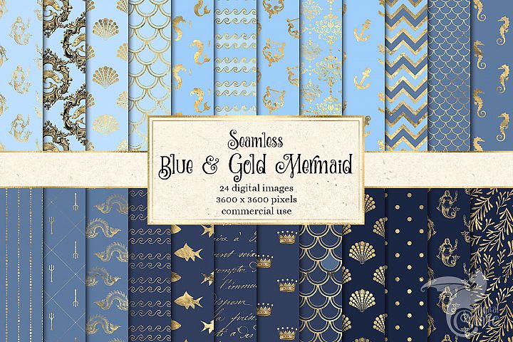 Blue and Gold Mermaid Digital Paper example
