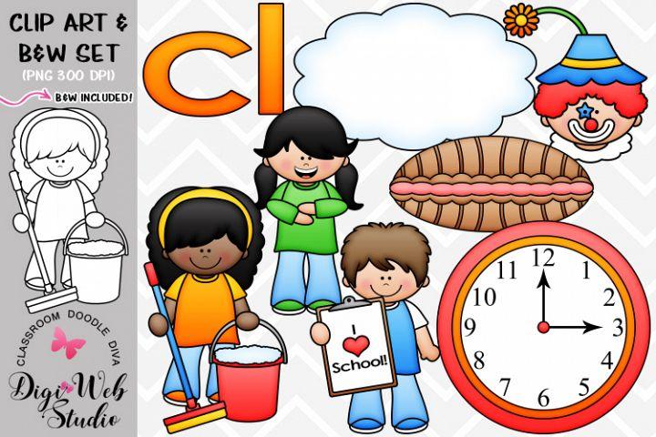 Clip Art / Illustrations - L Blends - cl Phonics
