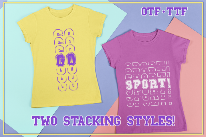 Go Sports Stacked Mirror Font With Two Stacking Styles