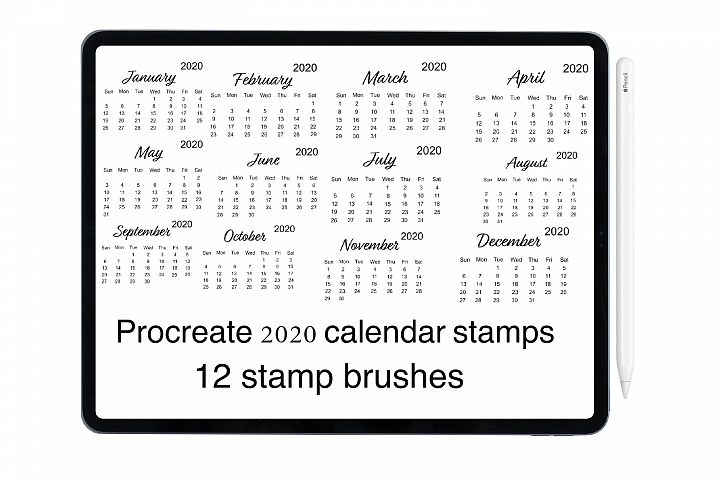 Procreate planner stamp brushes, 2020 fully dated calendar