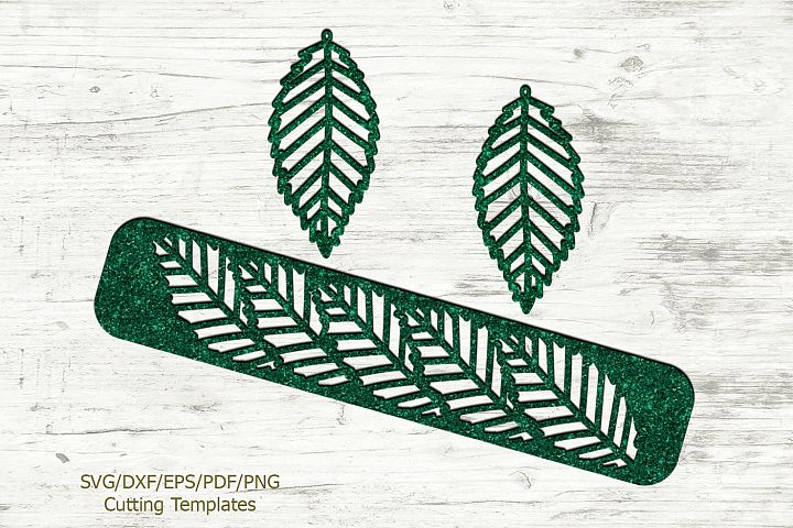 Leaves Set of Cuff Bracelet and Earrings svg laser templates