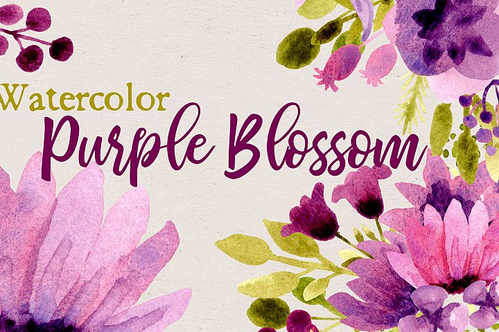 Watercolor Purple Blossom