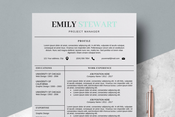 Creative CV Templates & Simple Resume Template - Emily