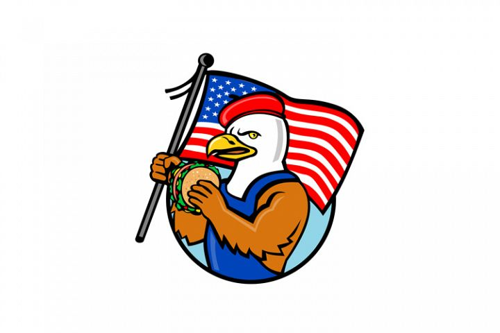 American Eagle Holding Burger and USA Flag Mascot
