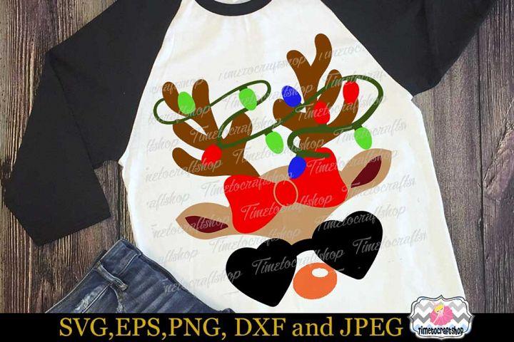 SVG, Dxf, Eps & Png Christmas Lights Girl Reindeer