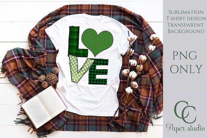 Love green plaid sublimation tshirt/mug design
