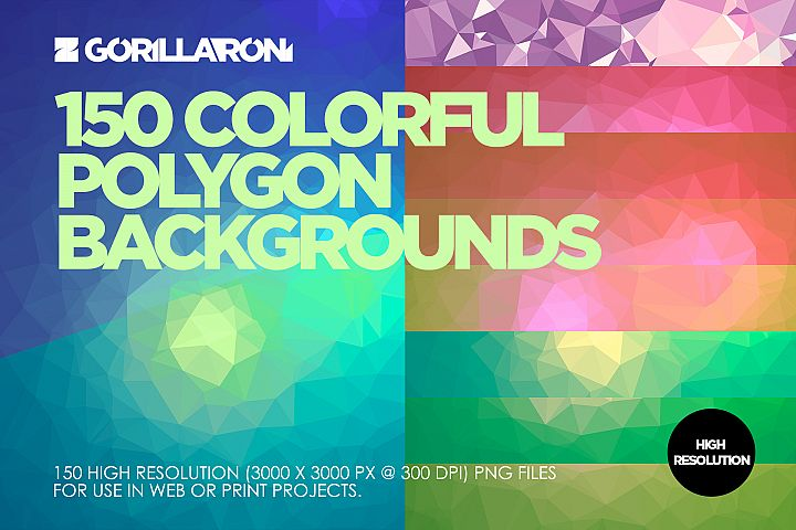 150 colorful polygon backgrounds by Gorillaroni