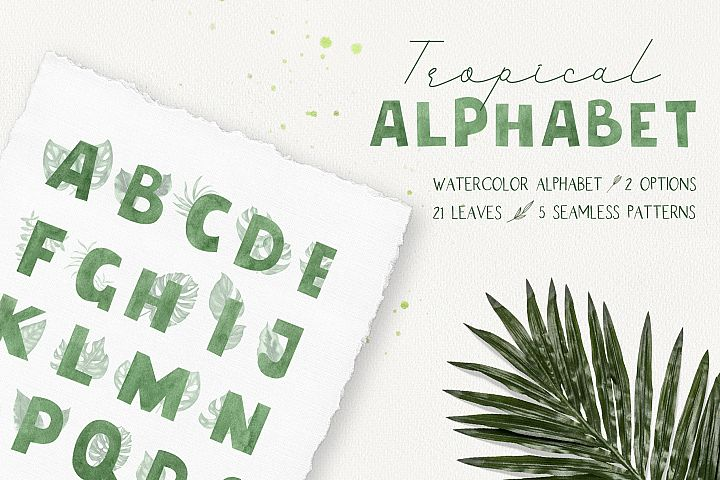 Tropical alphabet. Hand drawn watercolor illustrations