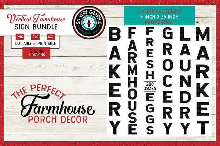 Vertical Farmhouse Sign Bundle | 6 Files | SVG | PNG