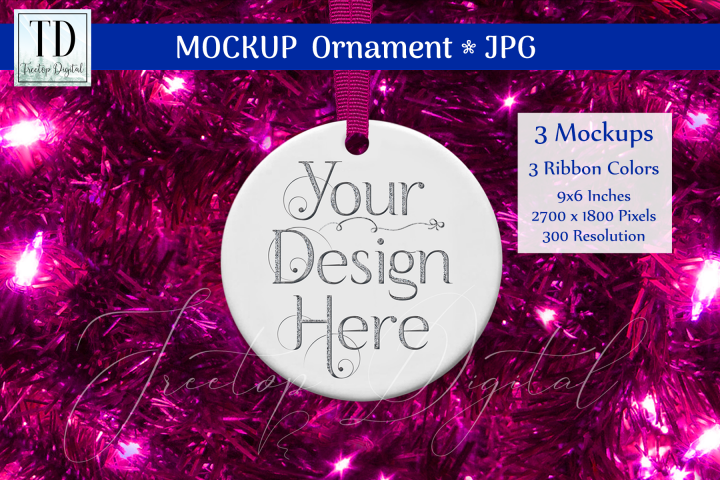 Round Christmas Ornament Mockups, Bauble Mock-Up Pink, JPG