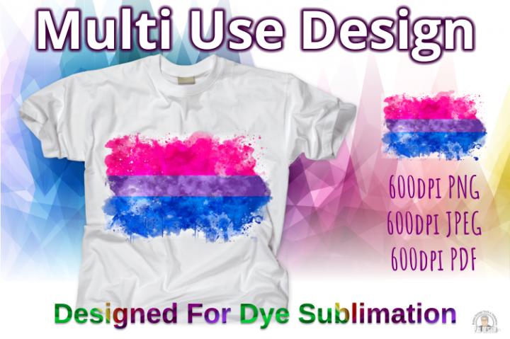 Bisexual Pride Flag Ink Splash Sublimation Design