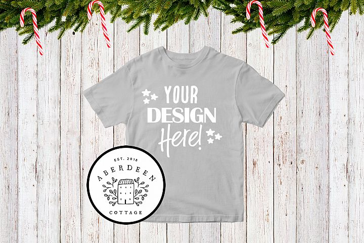 Childrens Christmas Grey T-Shirt Mock Up Style 2