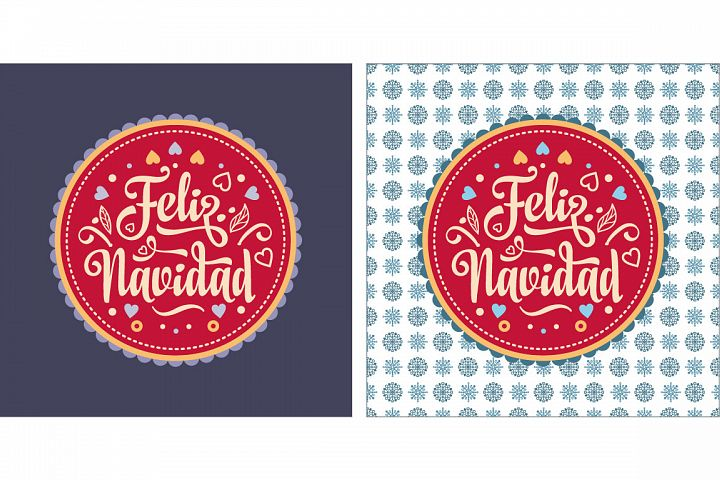 Merry Christmas. Lettering composition with phrase in in Spain. Christmas decoration. Winter toy. Feliz navidad.