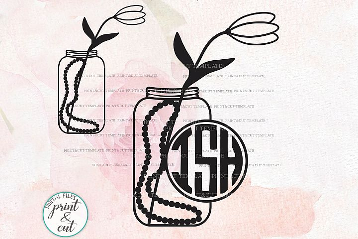 Jar with Tulip flower and pearls Monogram frame svg dxf pdf