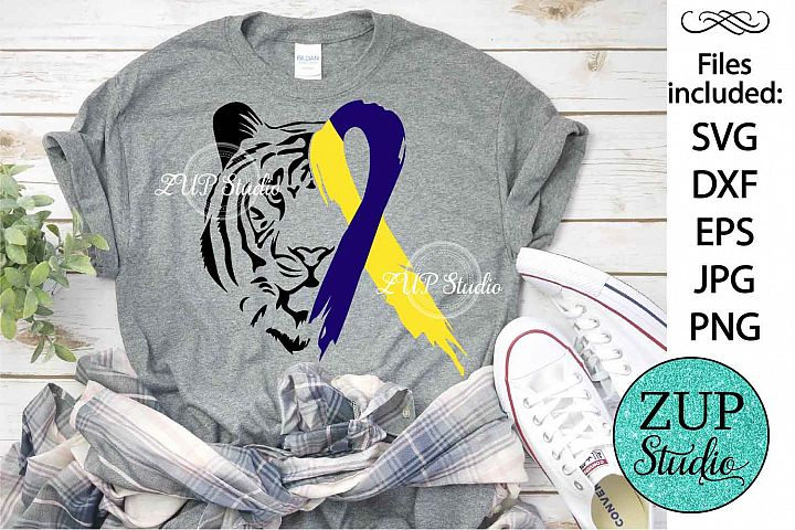 Tiger Face with Down Syndrome Ribbon svg design 483