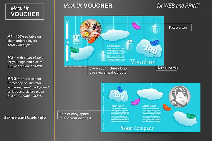 Mockup - Gift Voucher - Clouds and Butterfly