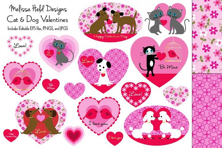 Cat and Dog Valentines Clipart