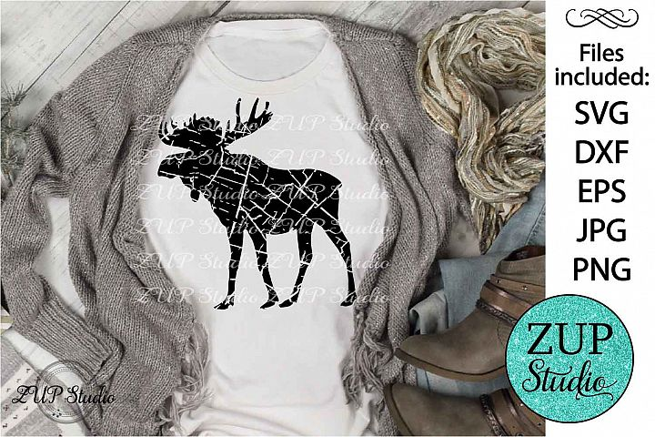 Distressed Grunge Moose Monogram Cutting file SVG 283