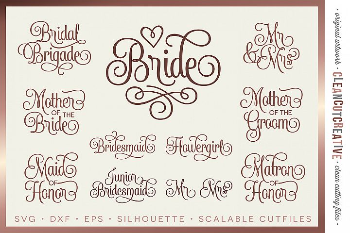 Bridal Party - Wedding Party - SET of 11 - SVG DXF EPS PNG