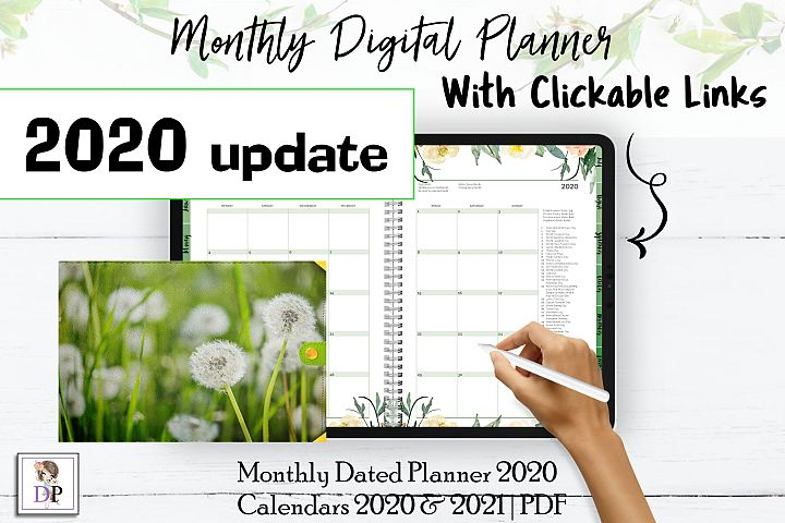 Monthly Dated DIGITAL Planner 2020 Green PDF CLICKABLE links