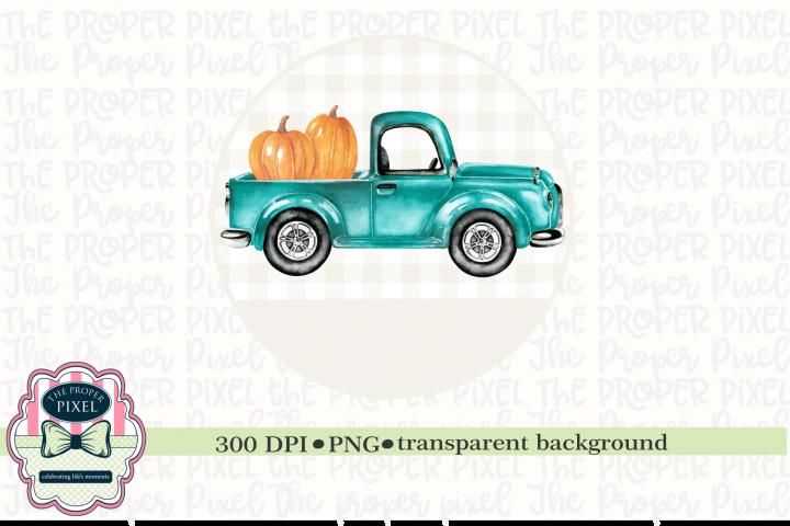 Truck with Pumpkins Sublimation Design, Printable