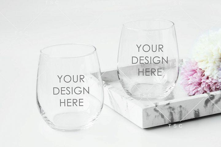 Wine Glass Mockup / Stemless Wine Glass Mockup
