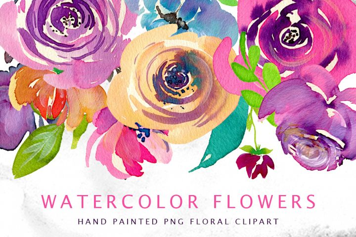 Watercolor bright flowers, branches