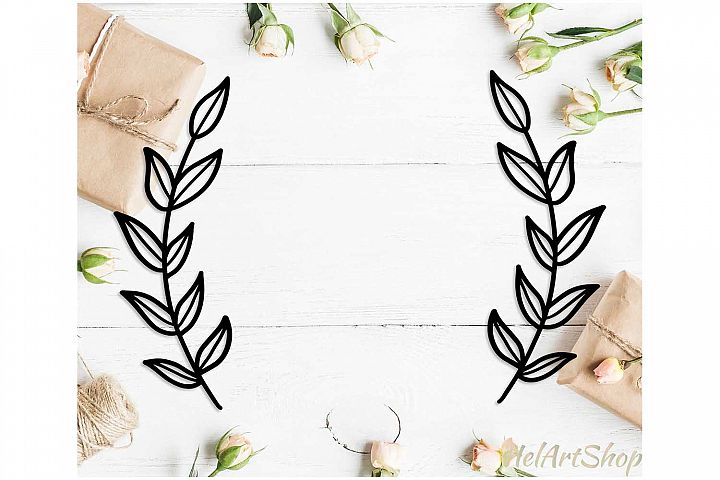 Wreath monogram svg, Laurel wreath svg cut file