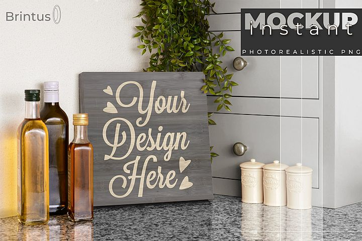 Instant mock up Wood Sign Kitchen Cutting Board